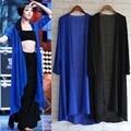 2016 estilo de Primavera y Verano más el tamaño de las mujeres abrigo largo negro de gasa delgada cardigan Tops Casual Largo protector solar Camisa de La Blusa