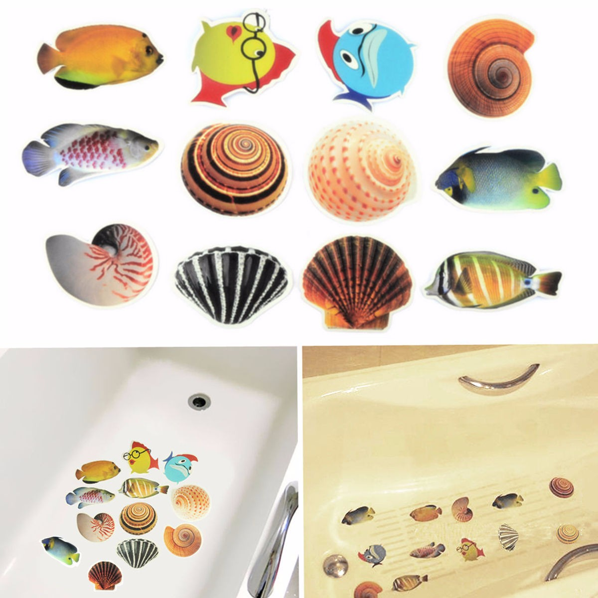 6pcs/Set Anti Slip Waterproof PVC Bathtub Stickers Decals Cartoon Fish  Ocean Sea Shell Funny