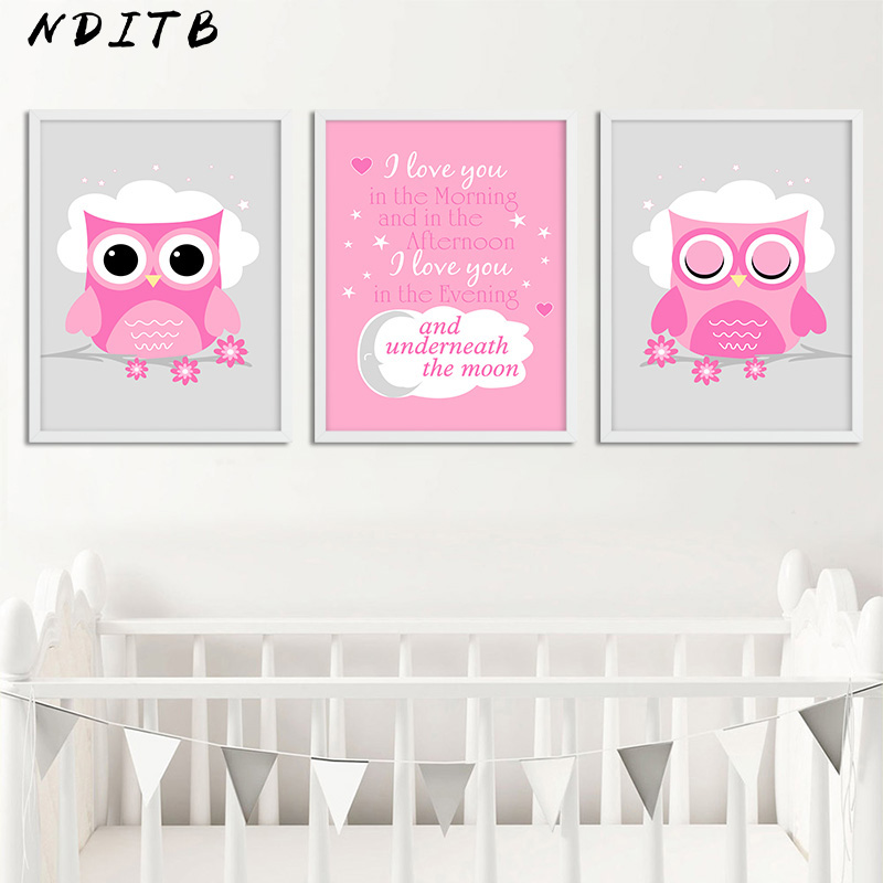 Us 2 7 53 Off Nditb Woodland Animal Owl Canvas Painting Wall Art Nursery Posters And Prints Nordic Kids Decoration Pictures Baby Bedroom Decor In