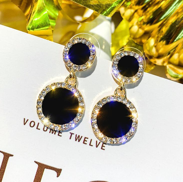 Boucle d'oreille petit frais et Simple boucles d'oreilles tempérament dames strass cercle femmes boucle d'oreille bijoux accessoires Oorbellen 7