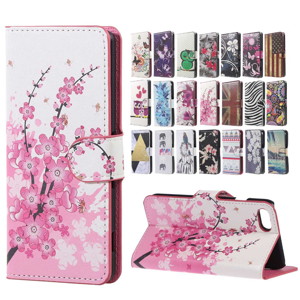Plum Blossom&Butterfly Circles&Meteor Shower&Zebra Stripes Folio Leather Stand Wallet Shell cover case for iPhone 7 4.7 inch