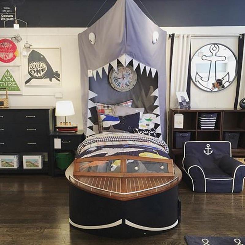 INS kamimi zwart Shark Canopy klamboe Kids Bed Netto babykamer decor - Beddegoed - Foto 3
