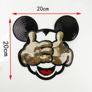 Big size Embroidered Sew-On Patches Clothes Sewing Mickey Clothing DIY Motif Applique Sticker Sequins handmade patch Minnie(China)