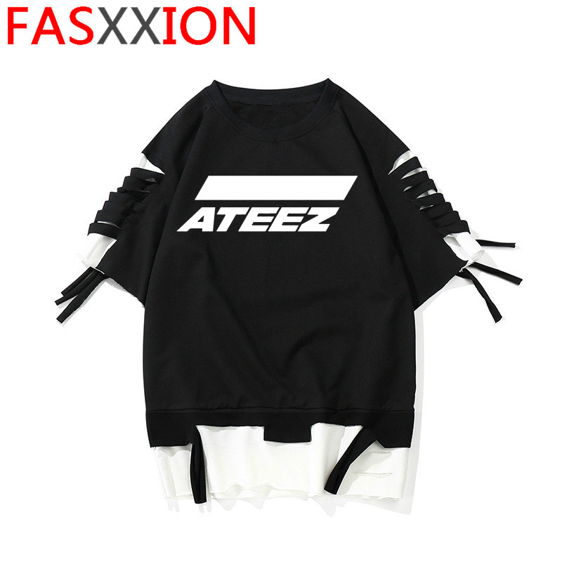 Mamamoo Ateez New Top Tee Blackpink Ikon Korean T Shirt Women/men Nct127 Loona Stray Kids Fashion T-shirt Unisex Female/male Накомарник