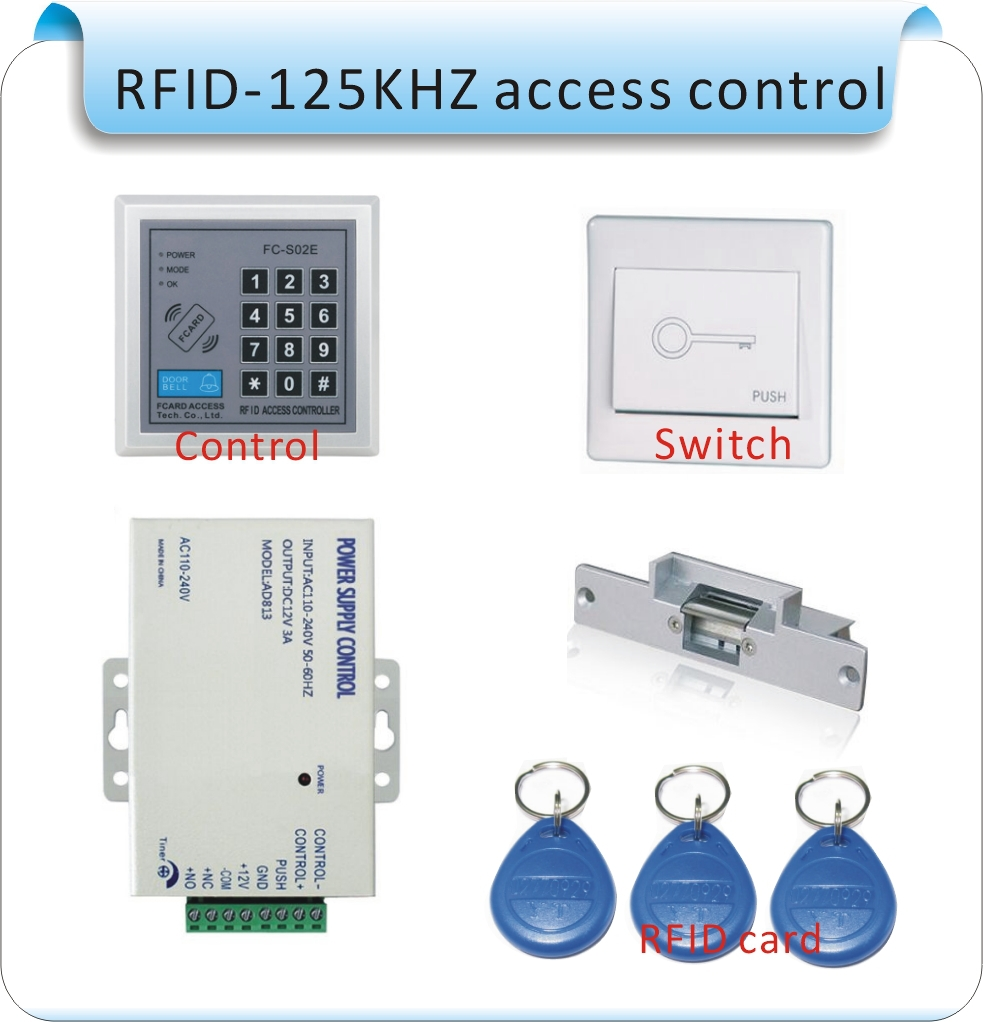 Free Shipping DIY wood door Rfid Door Access Control System Kit Set +Strike Door Lock +Rfid Keypad + Exit Button
