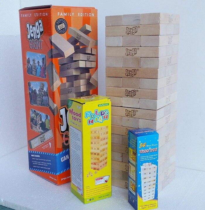 54 pièces plus grand plus grand en bois Jenga jeu géant pile blocs de construction jeu de bois dur piles à 5 + pieds. Âges 6 + adultes