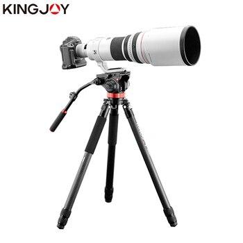 KINGJOY Official K4007/K4207 Heavy Duty Professional Tripod Carbon Fiber Video Camera Tripod Stand For All Models Movil SLR DSLR