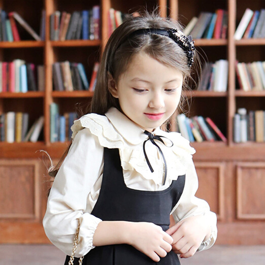 Korean Spring New Girls Lace Collar Pure Color Shirt Bowknot Flower Lace Collar White Grey Kids Clothing All Match