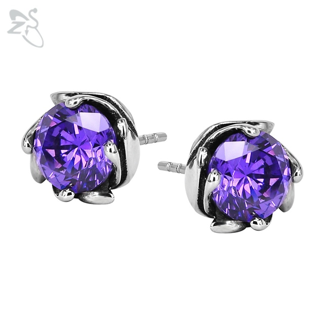 Pure Small Earrings Purple Crystal Surgical Steel Earing Gem Spiral Fashion Ear Studs Cartilage Piercings For Lady Gifts Jewelry