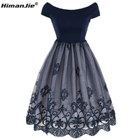 HimanJie 2017 Women Dress Robe Vintage Off Shoulder Mesh Lace Summer Dress Retro Rockabilly Big Swing