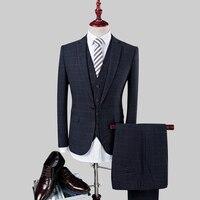 3pc Suit Men 2018 Slim Fit Plaid Formal Wear Blazer Set Terno Masculino Fashion Party Wedding Dress Suits (Jacket+Pant+Vest) 4XL