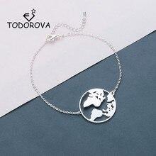 Купить с кэшбэком Todorova Round World Map Bracelets Stainless Steel Jewelry Globe Women Bracelet Travel Jewellery Gift Wanderlust Earth Bracelet