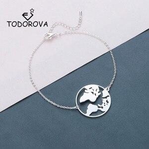 Todorova Round World Map Bracelets Stainless Steel Jewelry Globe Women Bracelet Travel Jewellery Gift Wanderlust Earth Bracelet