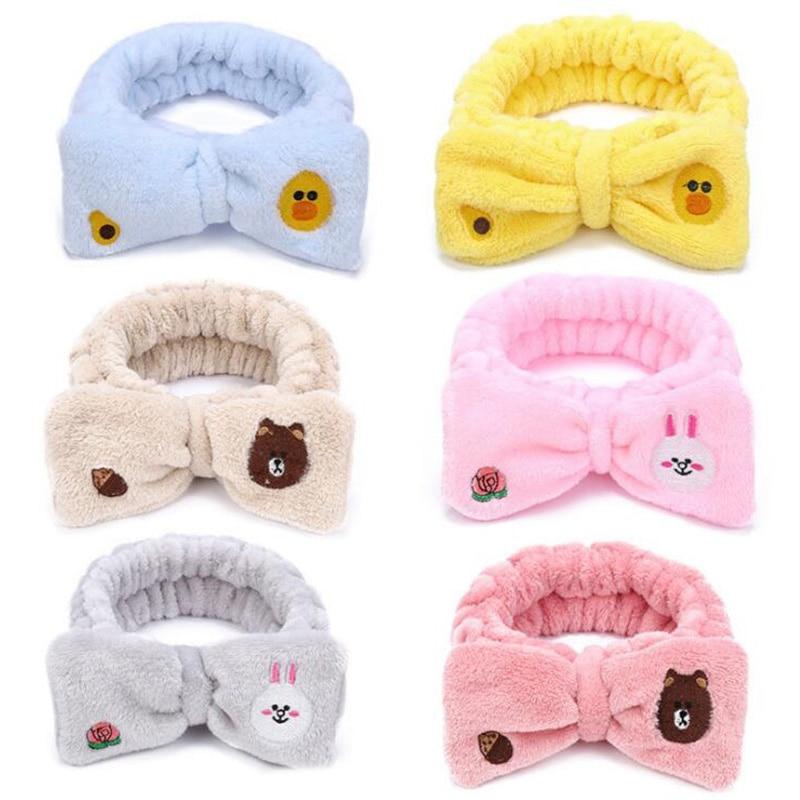 2019 Korean Women Hair Accessories Cute Cartoon Plush Hair Band Wide Side Wash Makeup Mask Headwear Lady Headdress