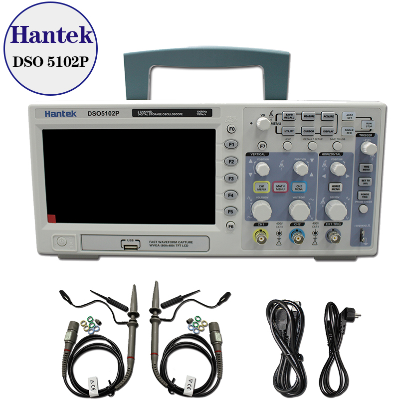 New Hantek DSO5102P Digital Oscilloscope 100MHz 2Channels 1GSa/s Real Time sample rate USB host and device connectivity 7 Inch