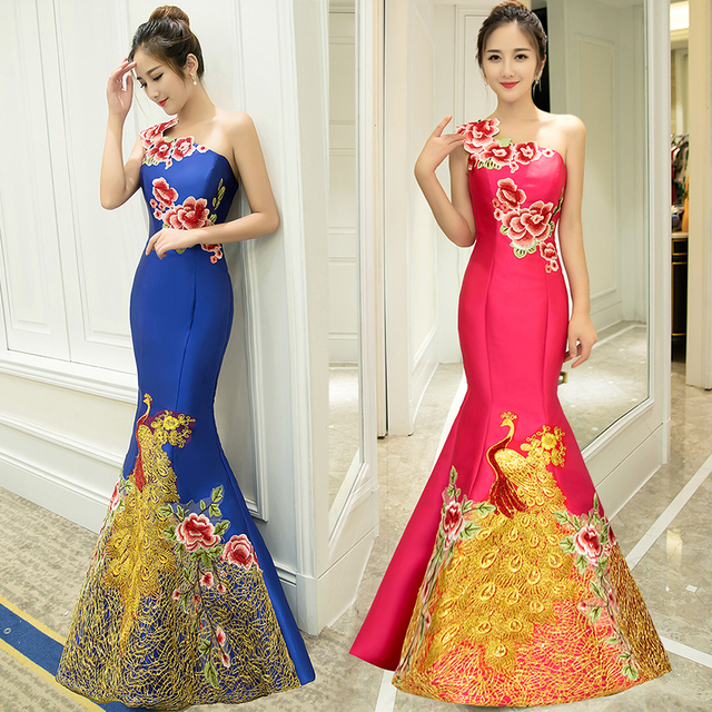 Mermaid Evening Dress Real Photo Long satin embroidery Chinese ...