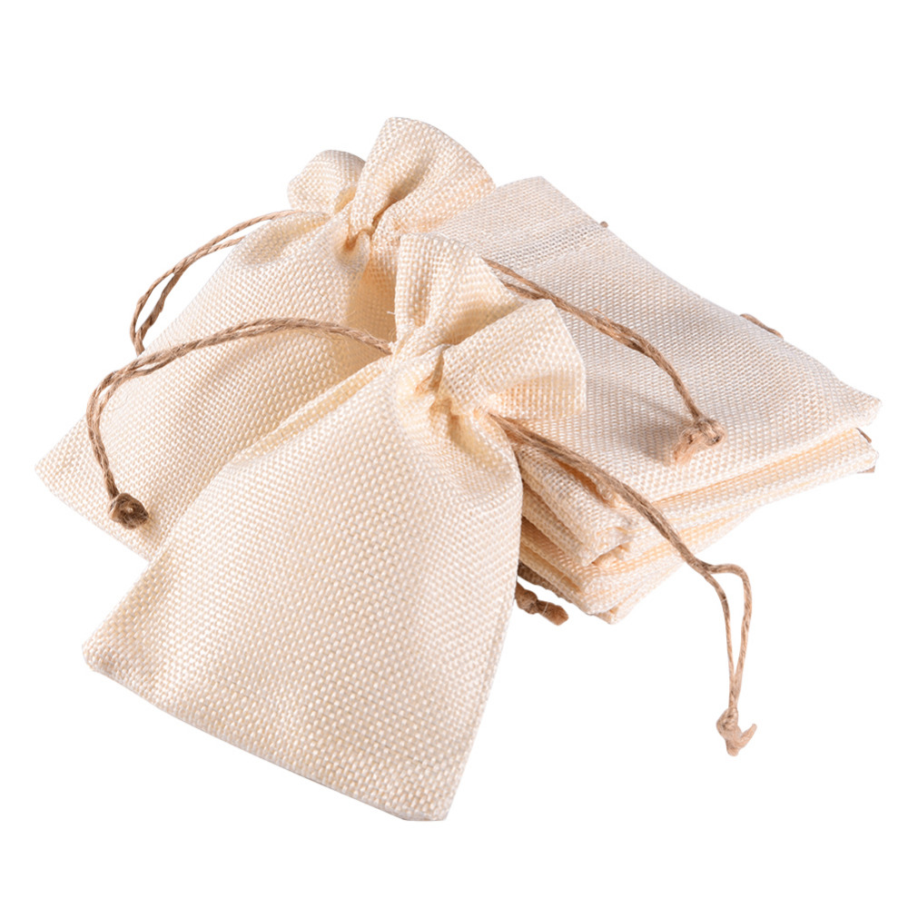 12Pcs/Lot Trendy White Natural Linen Drawstring Wedding Favor Bags ...