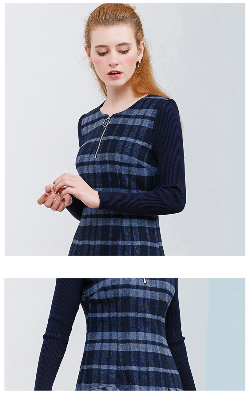 ONLY PLUS Ladies Woolen Dress for Women Knit Long Sleeve Mosaic High Quality Elegant A-line Stripe Dress Winter 2018 38