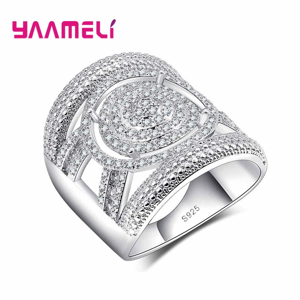 YAAMELI Unisex Fashion Cool925 Sterling Silver Wide Finger Engagement Rings for   Men&Women Wedding Couple Rings Jewelry