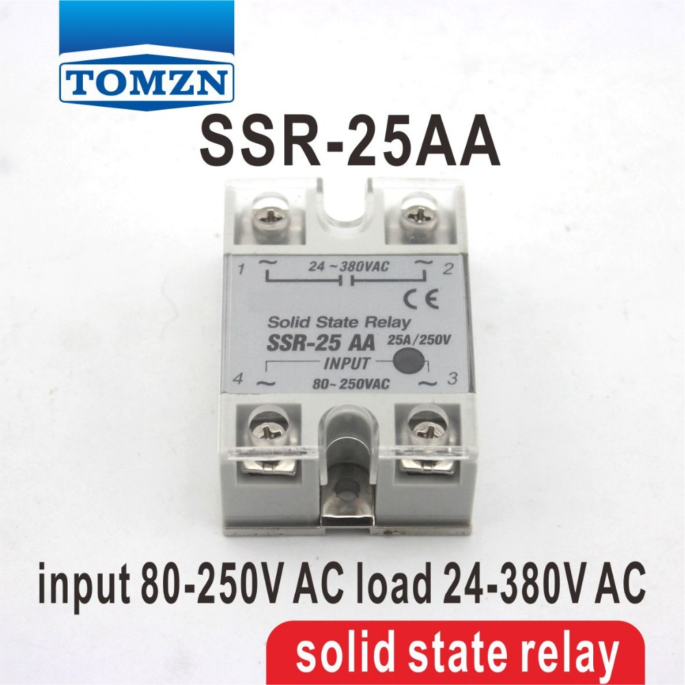 25AA SSR input 80-250V AC load 24-380V AC single phase AC solid state relay high quality ac ac 80 250v 24 380v 60a 4 screw terminal 1 phase solid state relay w heatsink