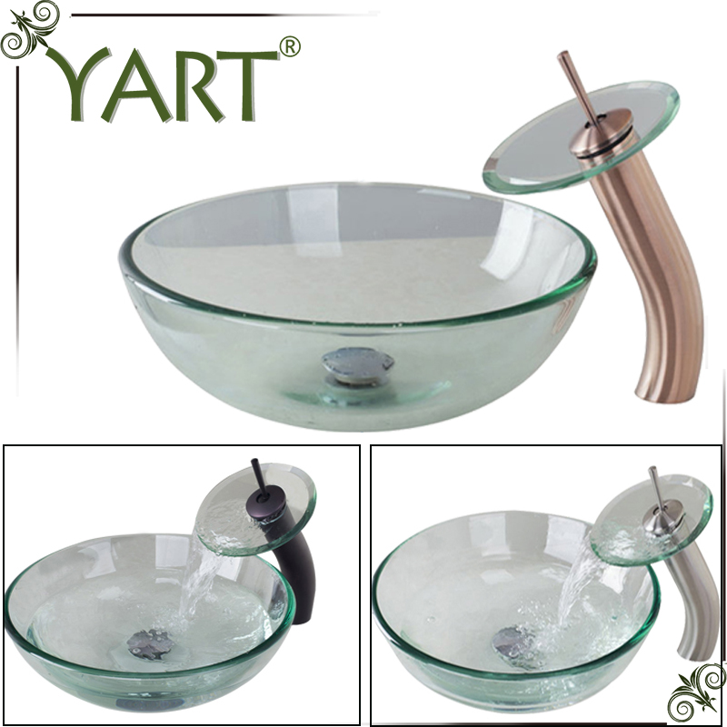 Yart Waterfall Basin Faucet Glass Bowl Bathroom Sink Wash Basin Tempered Mixer Set Orb Antique Copper Nickel
