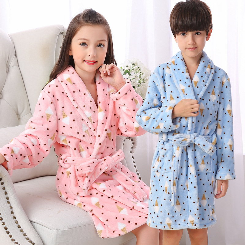 Childrens dressing gowns for men and women fall winter flannel home service pajamas flan ...