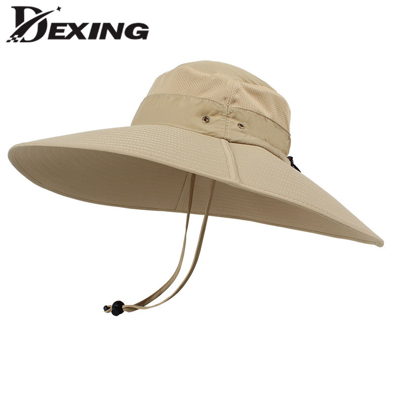 138927a130a 15cm Super Long Wide Brim Bucket Hat Breathable Quick dry Men Women Boonie Hat  Summer UV