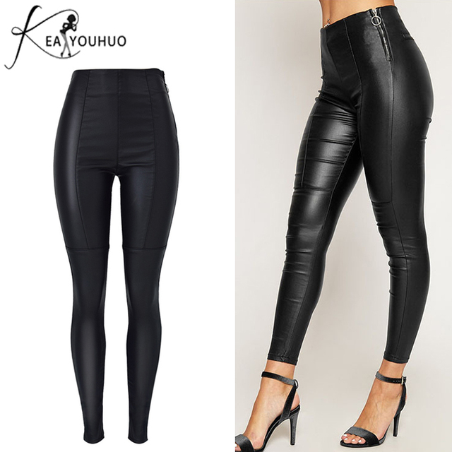 b5b8d6aa5903 New 2018 Winter Ladies Side Zipper Women PU Leather Pants Plus Size Pants  Trousers Women High Waist Slim Stretch Balck Pants