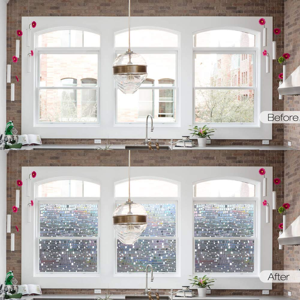 Multiple sizes available No Glue Static Cling Privacy Glass Film 3D Laser Pebble Home Decorative Window Films self adhesive in Decorative Films from Home Garden