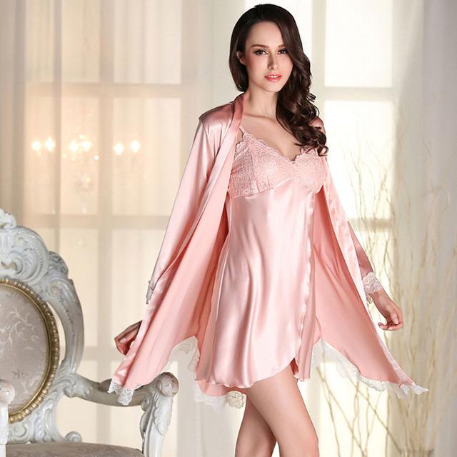 2017 de Primavera de Encaje Blanco Siete Manga Albornoz Bata Camisón de Las Mujeres Pijamas Sexy camisolas sensuais gecelik peignoir pijama camison