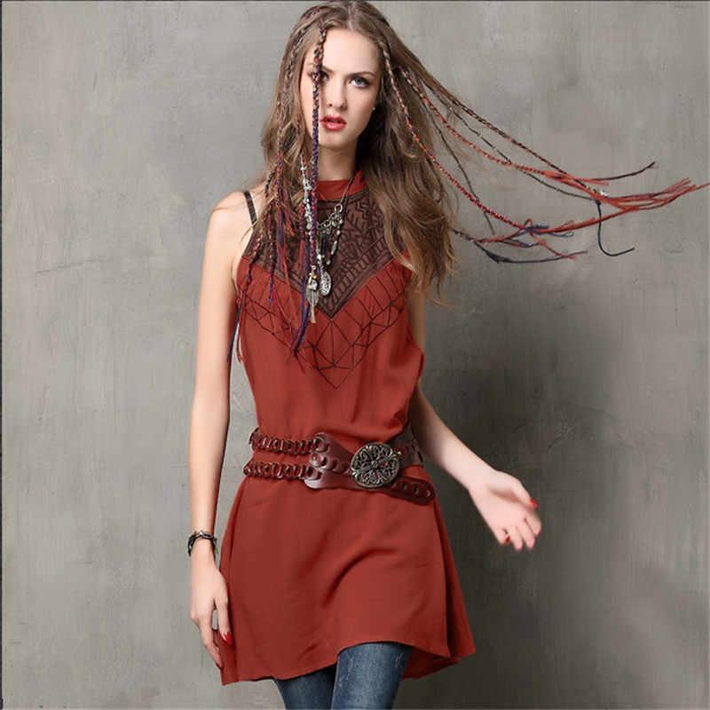 Винтажное элегантное женское платье с вышивкой, хлопковое льняное летнее джинсовое платье выше колена, Vestidos Feminino, платья без рукавов с круглым вырезом