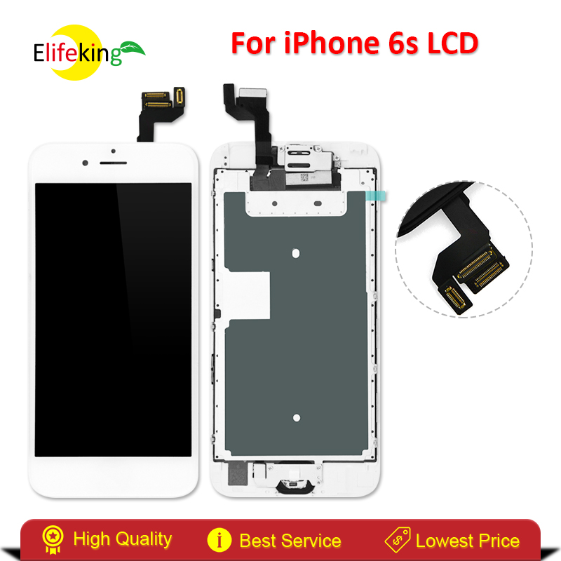 Elifeking 1PCS White LCD Display For Apple iPhone 6S Touch Screen Digitizer Frame Full Set Assembly Replacement + Home Button + new white lcd display touch screen digitizer replacement repair frame assembly for apple iphone 5s smart phone