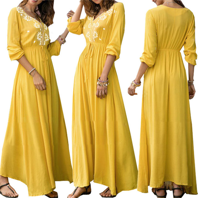 2018 Women Autumn Print Casual Dress Party Vintage Elegant Fashion Yellow  Maxi Dress Plus Size