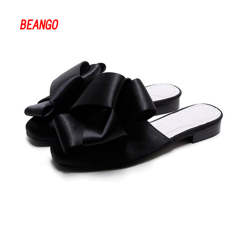 ФОТО BEANGO 2017 New Arrival Fashion Euramerican Women Shoes Black Silk Butterfly Knot Flats Shoes Round Toe Casual Ladies Slides