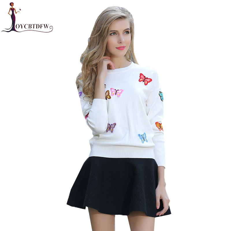 2018 Autumn Lady New Knitted Woman Sweater Butterfly Pattern O neck Sweater Slim Embroidery Pullovers Solid Casual Sweater XY513