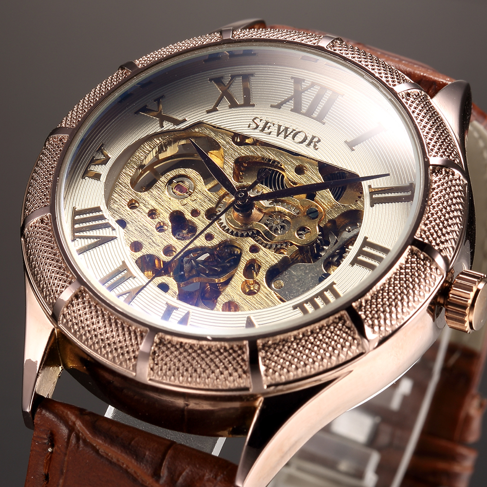 SEWOR Men's Mechanical Wrist Watch Textured Case Skeleton Dial Male Clock Synthetic Leather Strap Automatic Horloges Mannen sewor classic hollow dial clock fast