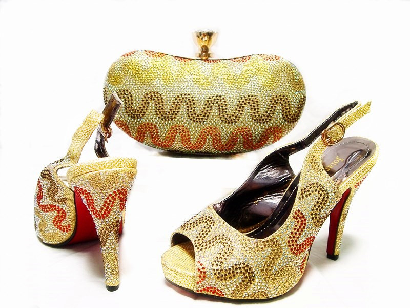 ФОТО  Shoes and Bag Gold Wedding Shoes and Bag High Heels Fashion African Shoe and Bag Set Women Shoes and Bag To Match JA10-3