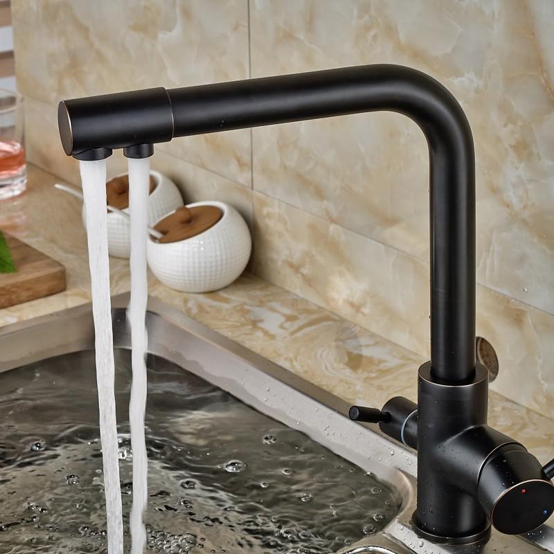 Oil-Rubbed-Bronze-Kitchen-Faucet-Hot-Cold-Mixer-Tap-W-Pure-Water-Spout-Dual-Handles (5)