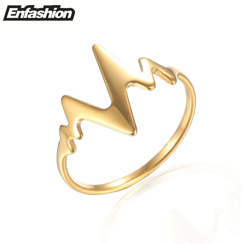 Enfashion Heartbeat Rings Rose Gold color Midi Ring Stainless Steel Ring Knuckle Rings For Women Jewelry Bagues Anillos