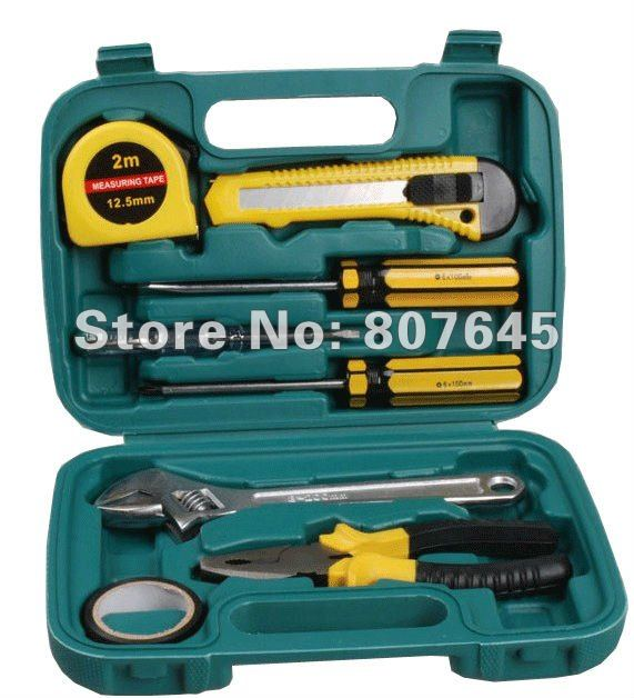 9pcs household tool set & home tools (plier, screwdriver, hammer, cutter, ruler, test pen)