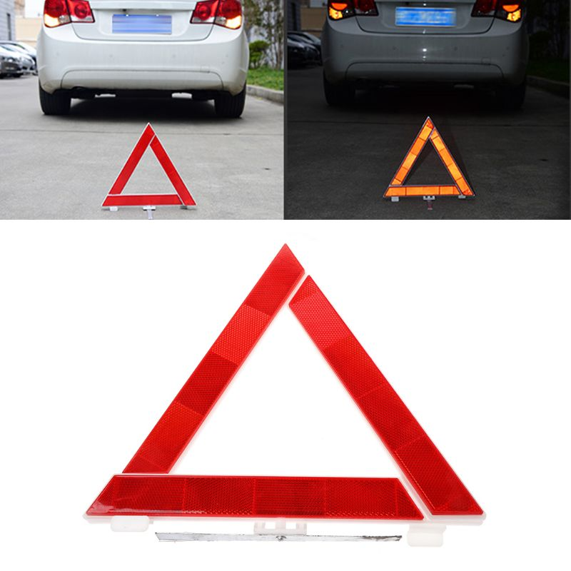 Car Truck Emergency Breakdown Triangle Reflective Safety Hazard Red Warning Sign