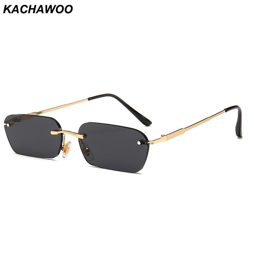 Kachawoo Pequeno Retângulo Óculos De Sol para Homens Acessórios de Moda Senhoras Óculos de Sol Sem Aro de Metal Unisex Artigos do Presente