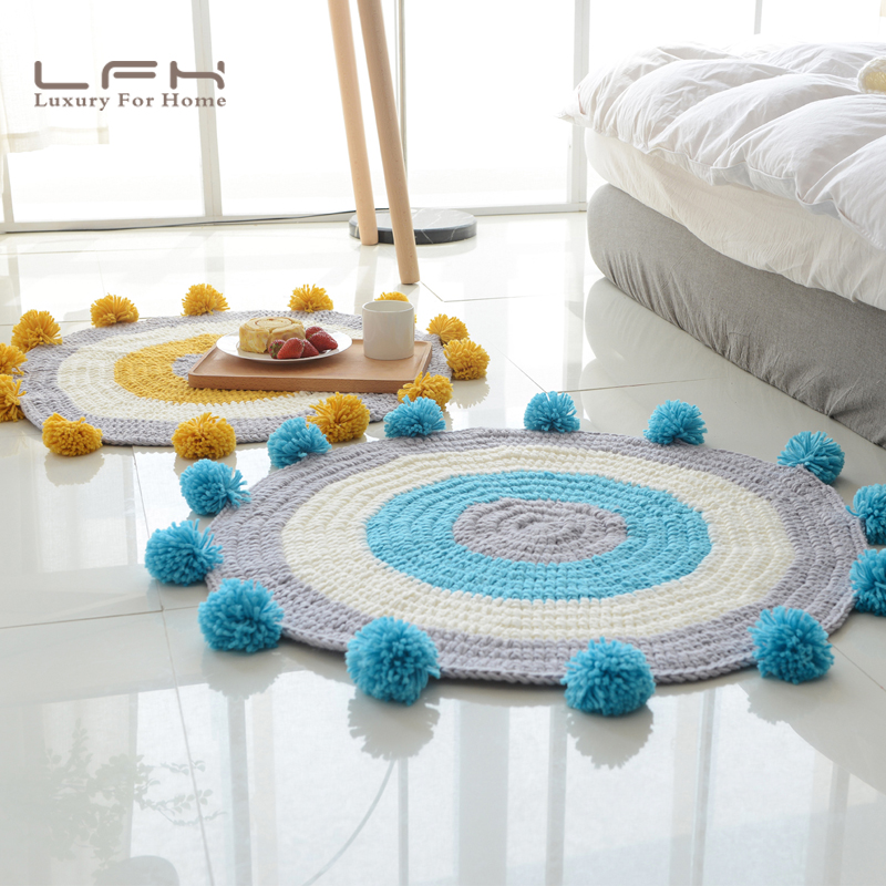 The Hot carpet chenille knitting wool ball net ball decorative  blanket Nordic air conditioning blanket