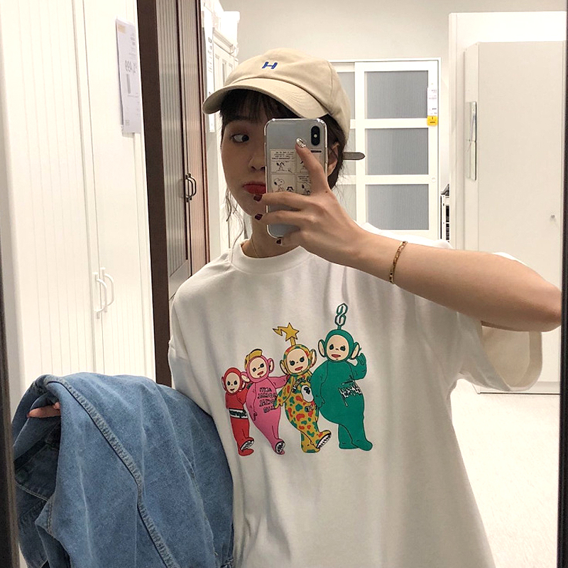 Teletubbies Printed T Shirt  Women Harajuku White Short Sleeve Tees  Fashion Street Style Tops Milk Silk Casual Korean Clothes