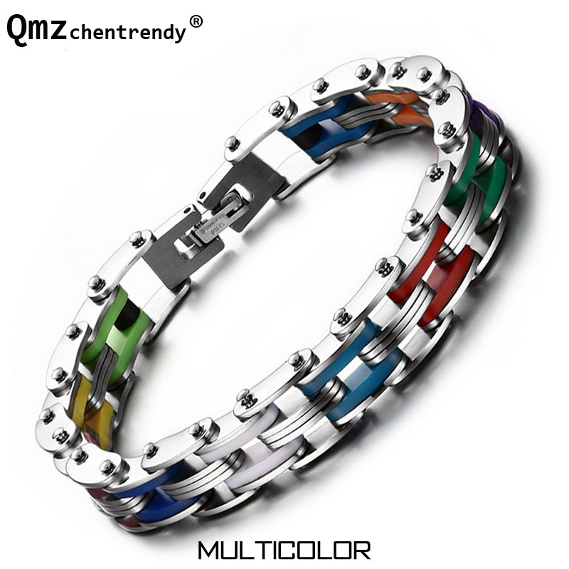 Titanium & Silicone Men Motor Bicycle Chains Bracelet Cuff Wristbands Punk Jewelry Male Brace lace Trendsetter Pulsera 8 Color