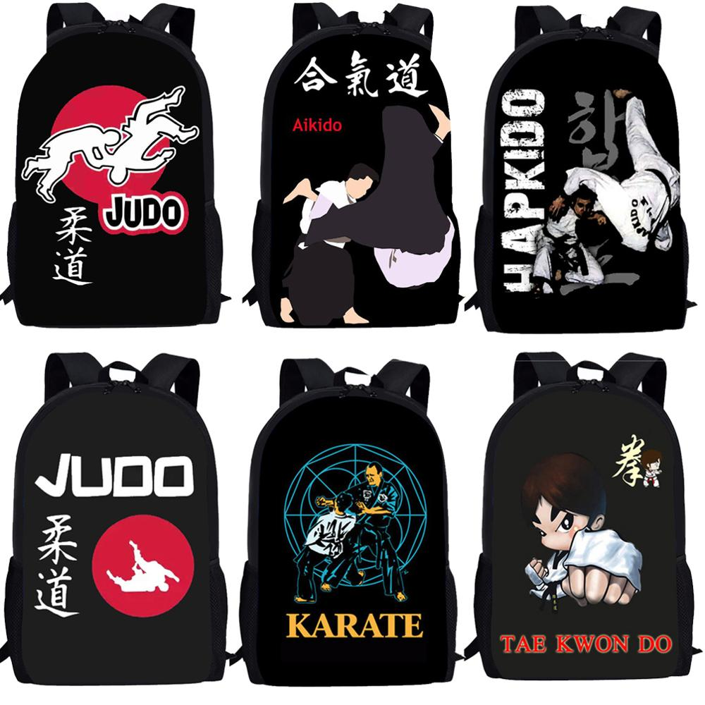 Cool Martial Martial Judo Taekwondo Karate Aikido Kune Do Backpacks For Teenage Girls Boys Women Men School Bags Kids Mochila