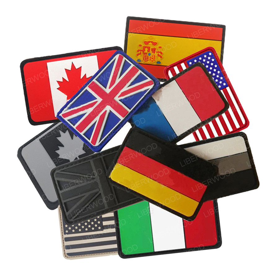 PVC Flag Patch Union Jack Spain France Germany Italy American USA US Canada Flag Military Patch Tactical Badges Rubber Patches(China)