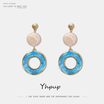 Yhpup Trendy Korean Round Enamel Geometric Dangle Earring Fashion Copper Jewelry for Girl Office pendientes mujer.jpg 350x350 - Yhpup Trendy Korean Round Enamel Geometric Dangle Earring Fashion Copper Jewelry for Girl Office pendientes mujer orecchini 2020