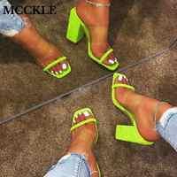 MCCKLE/женские прозрачные босоножки; женские шлепанцы на высоком каблуке; яркие цвета; Модные женские сланцы Летняя обувь с открытым носком на ...