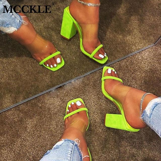 MCCKLE נשים סנדלים שקופות גבירותיי נעלי בית עקב גבוהות צבע סוכריות הבוהן פתוחה עקב עבה שקופיות נקבה אופנה נעלי קיץ